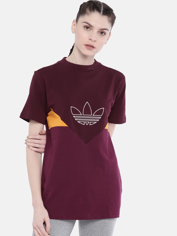 504f23e7 Buy ADIDAS Originals Maroon Embroidered CLRDO Longline T Shirt ...