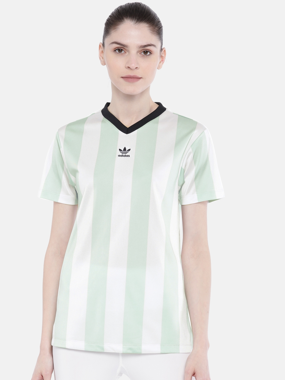 640102e298a Buy ADIDAS Originals Women White & Green Striped Football T Shirt ...