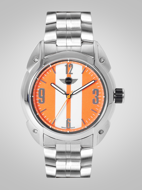 MINI Men Orange   White Striped Analogue Watch MINI84E_HP MINI Watches