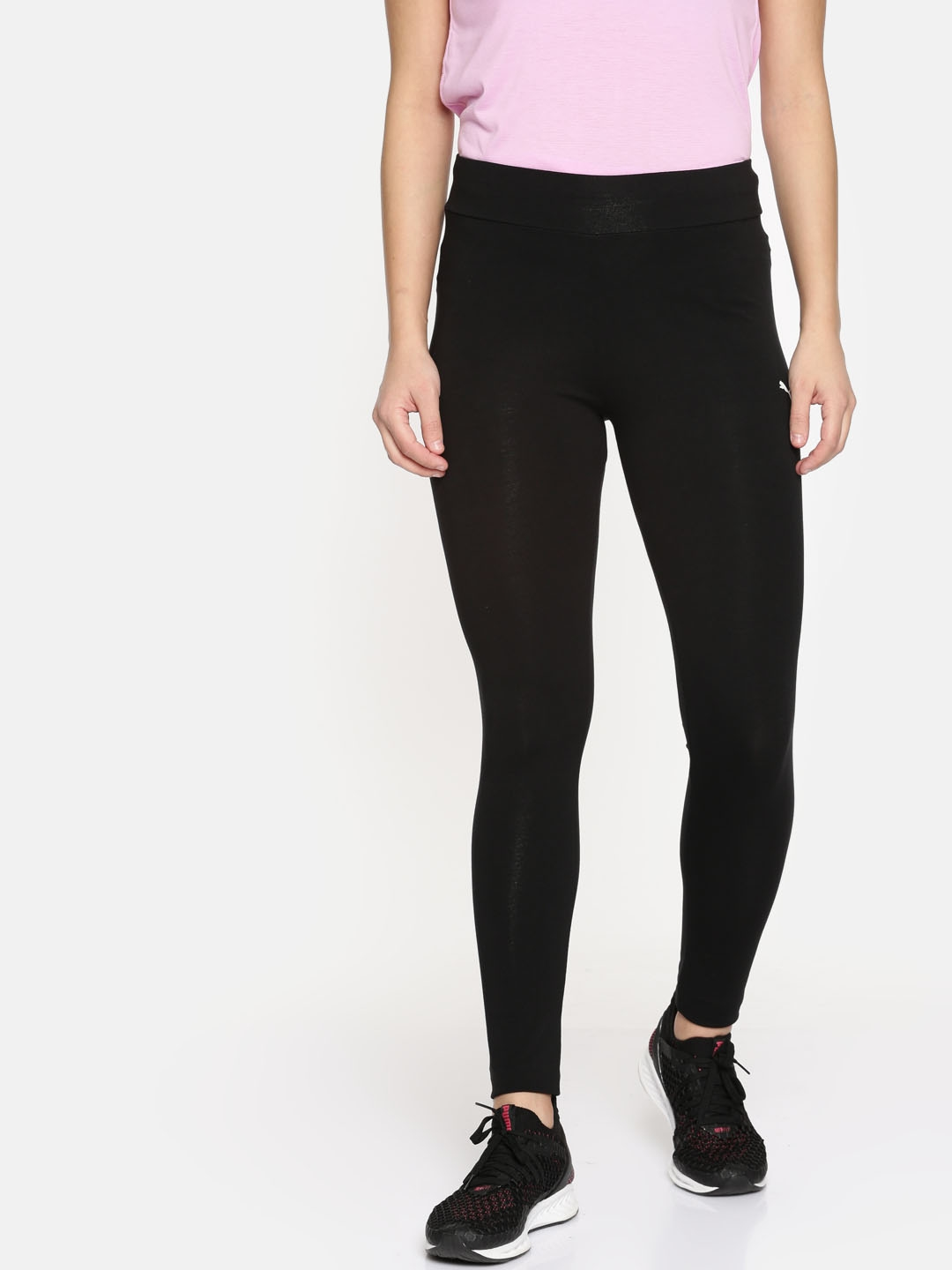 07ae67ba527b Buy Puma Women Black Tight Fit ESS Leggings Cotton Black Cat Solid ...