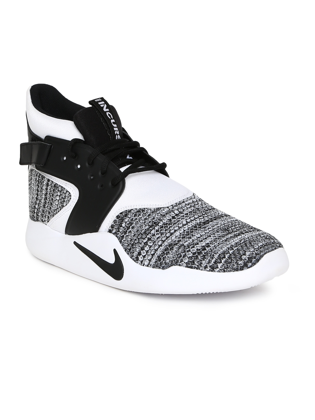 huge discount d7f4b 231d9 Nike Men White Woven Design Leather Incursion Mid-Top Sneakers