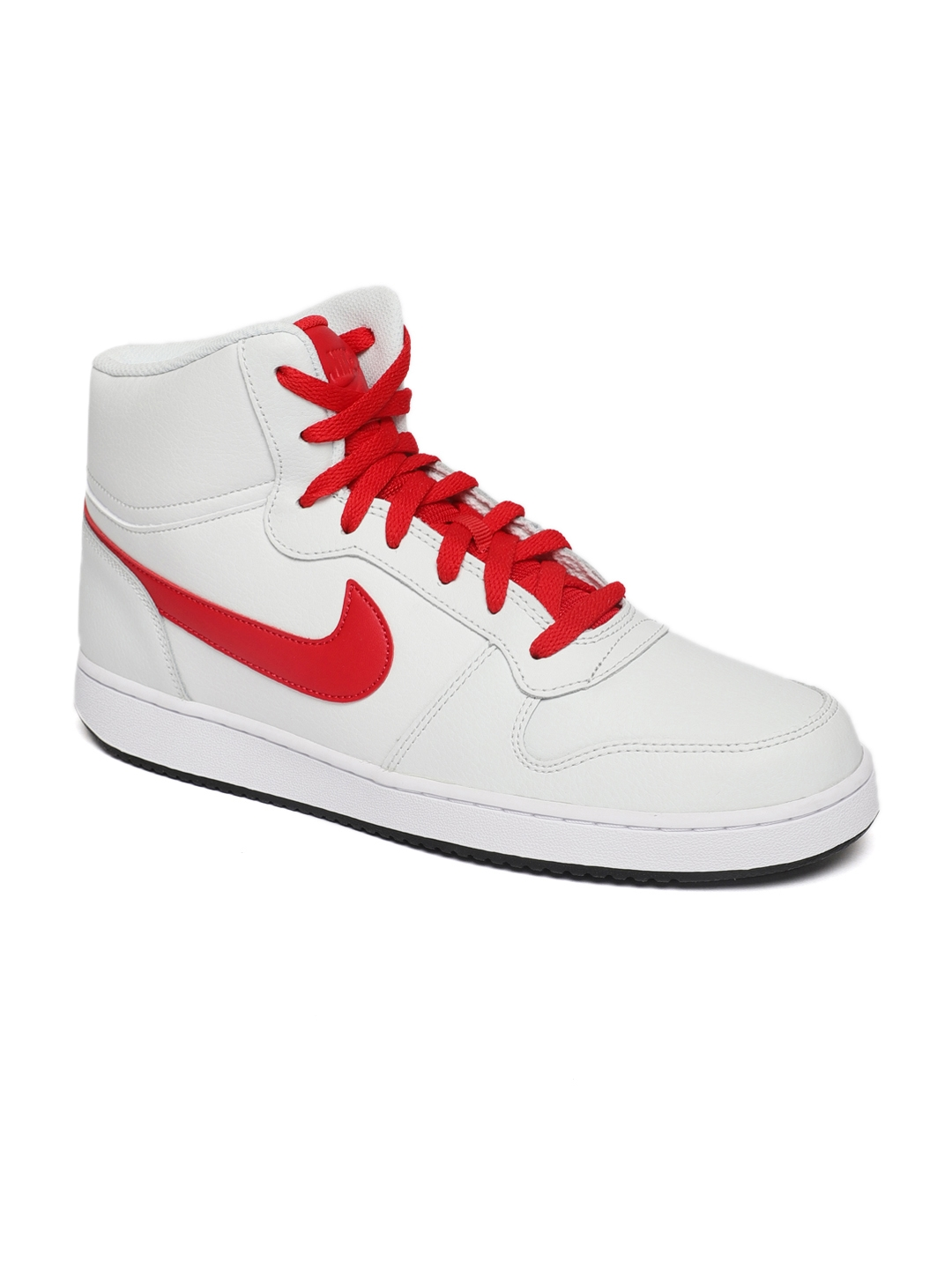 Nike Men White Solid EBERNON Leather Mid,Top Sneakers