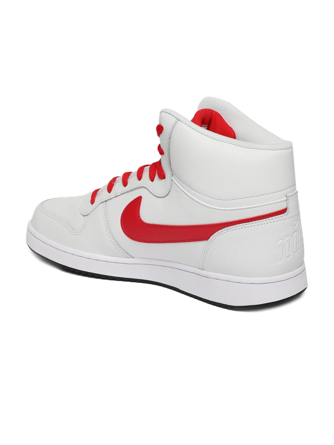 best website e825a 145cf Nike Men White Solid EBERNON Leather Mid-Top Sneakers