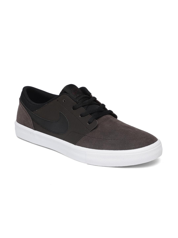 the latest e89ed 66661 Nike Unisex Brown SB PORTMORE II SOLAR Skateboarding Leather Shoes