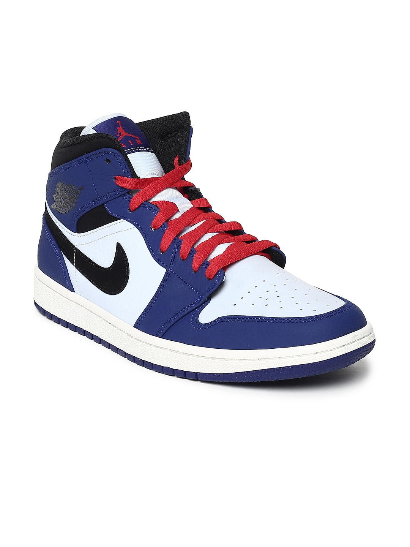 pretty nice 032cd 483e5 Nike Men Blue Air Jordan 1 Mid SE Leather Basketball Shoes