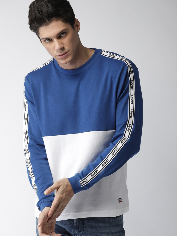 2aca8688f92 Buy Levis Men Blue Colourblocked Round Neck T Shirt - Tshirts for ...