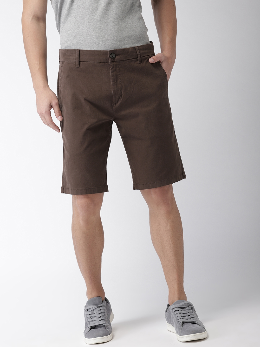 ff5f8e45 Buy Levis Men Brown Solid Regular Tapered Fit Chino Shorts 502 ...