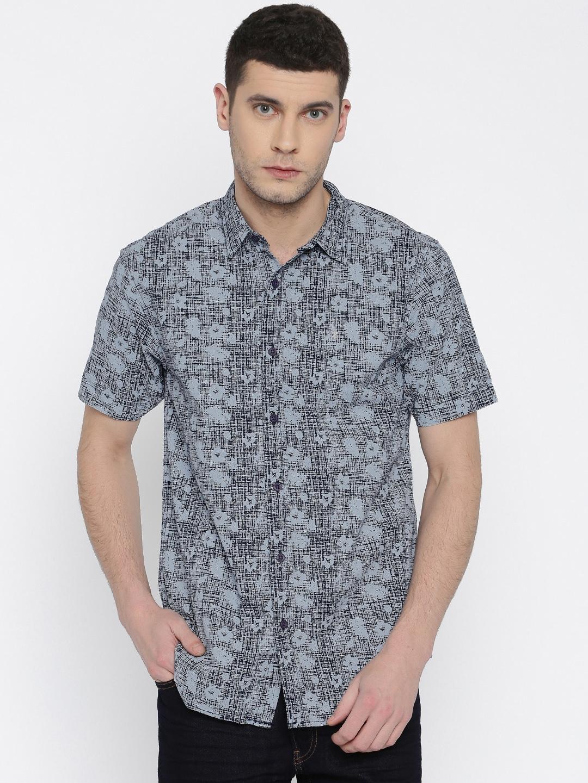 Buy Izod Grey Navy Printed Slim Fit Casual Shirt Shirts For Men