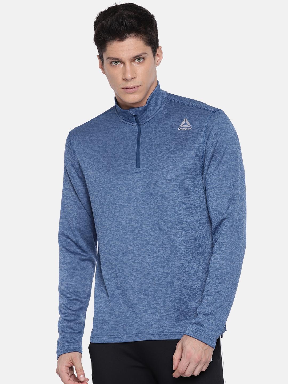 Reebok Men Blue DOUBLE KNIT Solid Sweatshirt