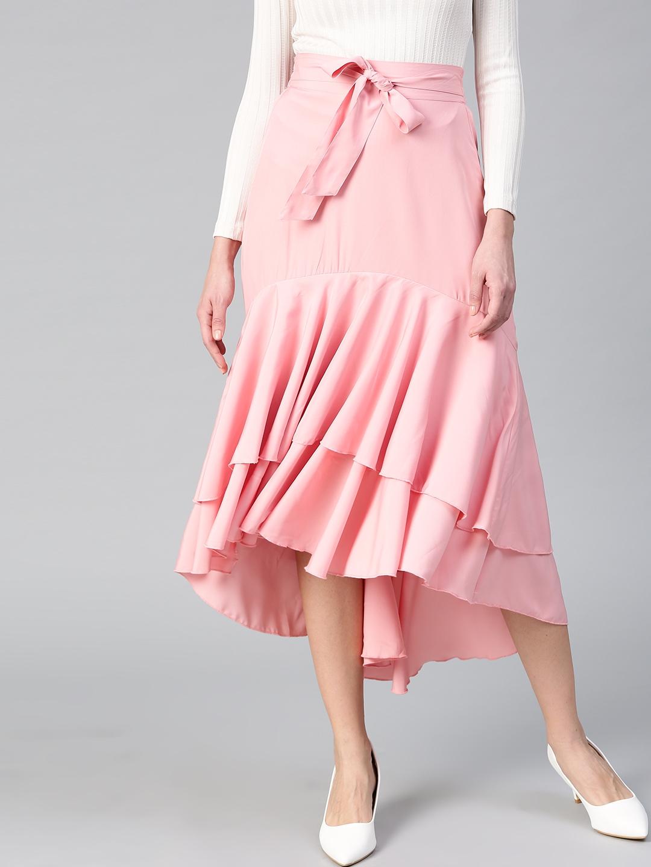 Bitterlime Women Pink Layered Ruffled A line Skirt