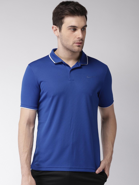 best sneakers c7ade c8b42 Nike Men Blue Standard Fit Solid NKCT DRY POLO TEAM DRI-FIT Standard Fit  Tennis T-shirt