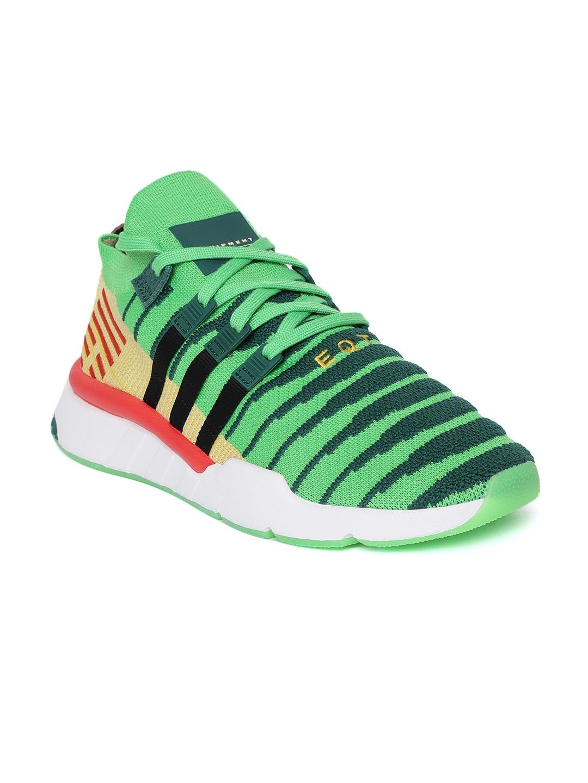 bf239026b50 ADIDAS Originals Dragonball Z Men Green   Yellow EQT Support Mid ADV  Primeknit Sneakers