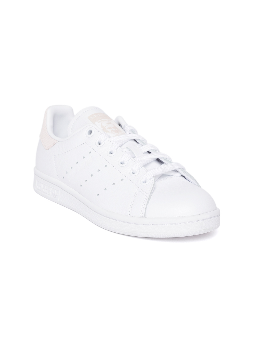 d4cc663409d ADIDAS Originals Women White Stan Smith Leather Perforated Detail Sneakers