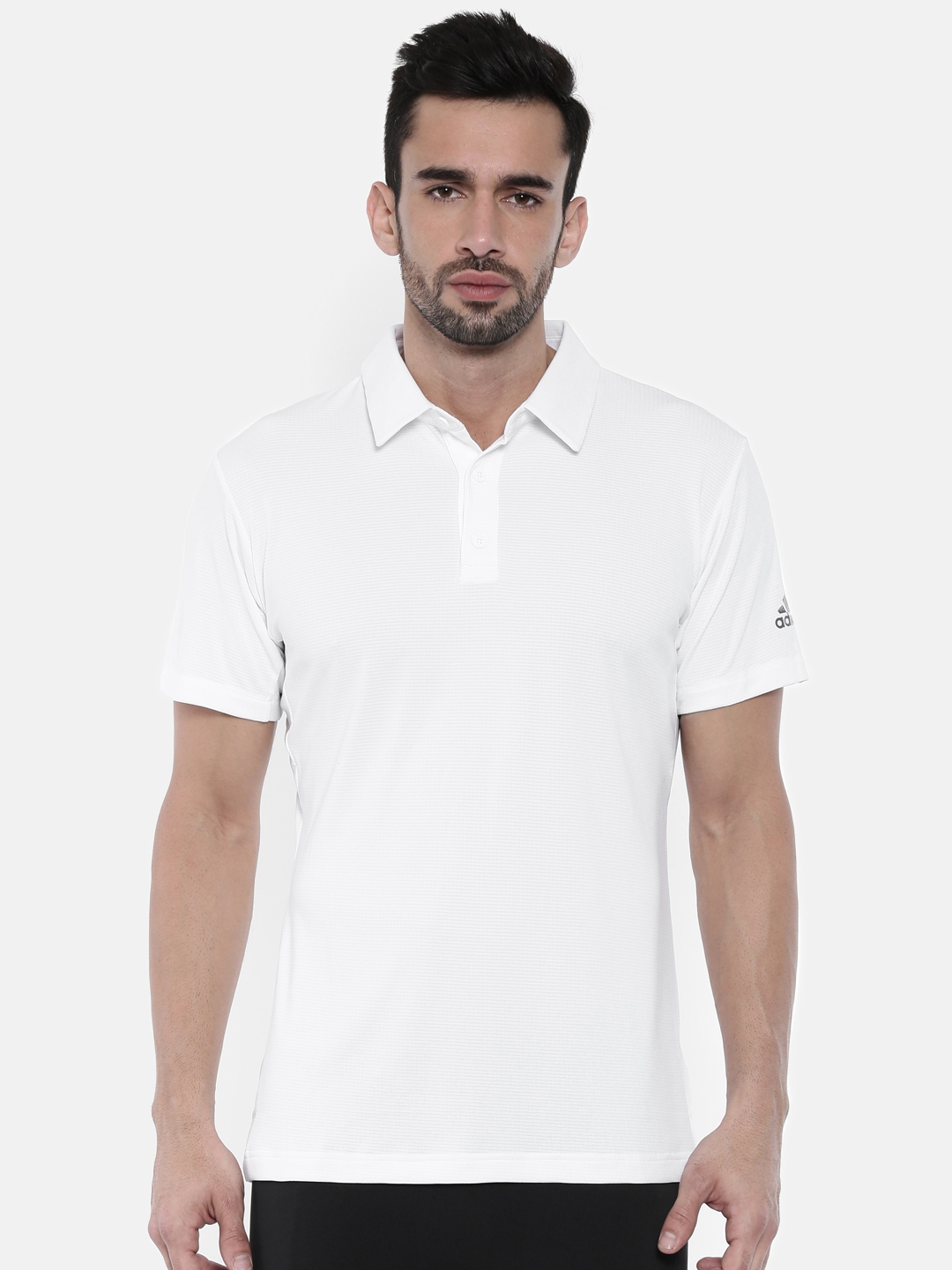 74cb7bdd028a84 Buy ADIDAS Men White Solid Polo Collar CLIMACHILL T Shirt - Tshirts ...