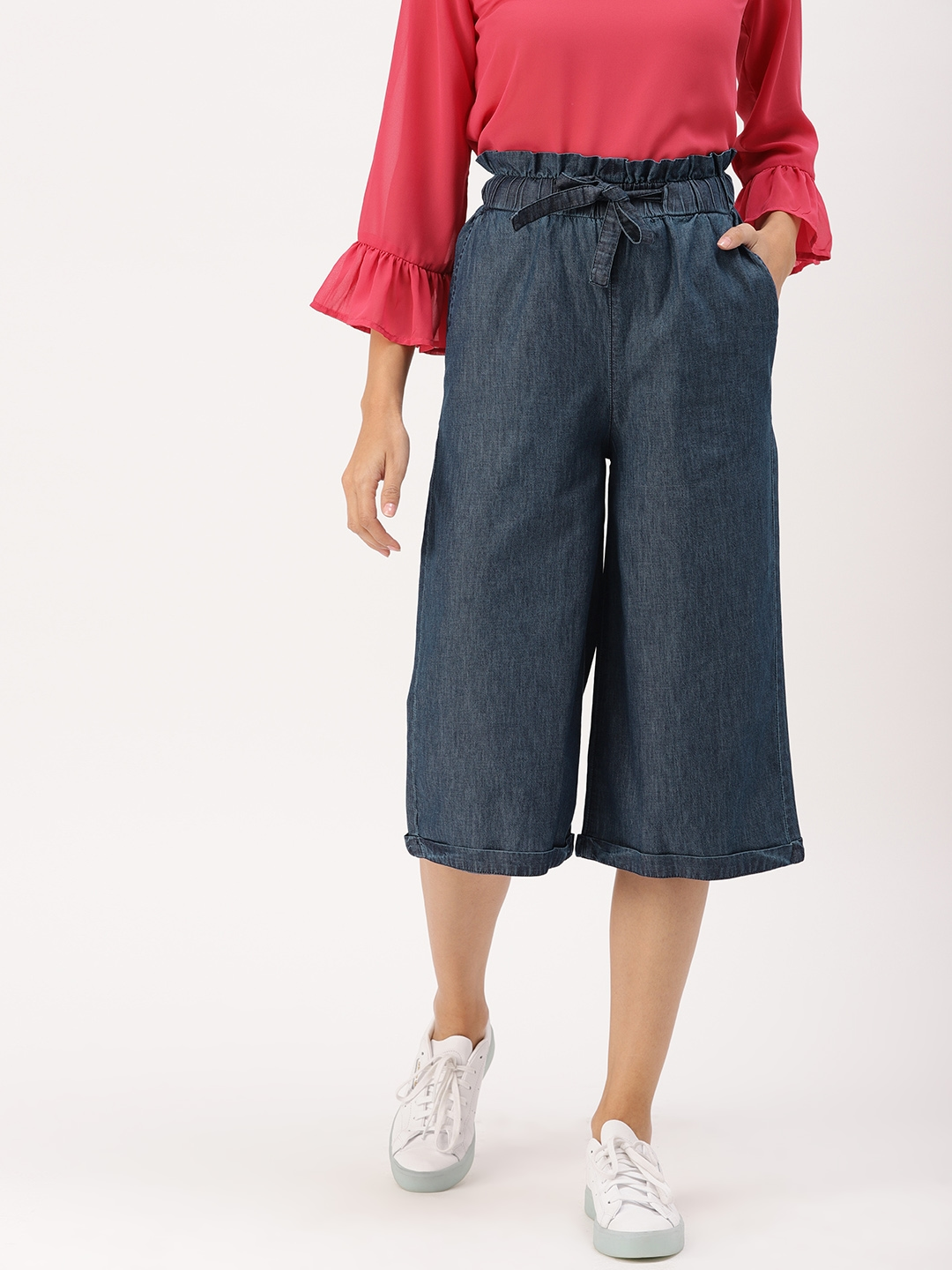 DressBerry Women Blue Regular Fit Solid Culottes