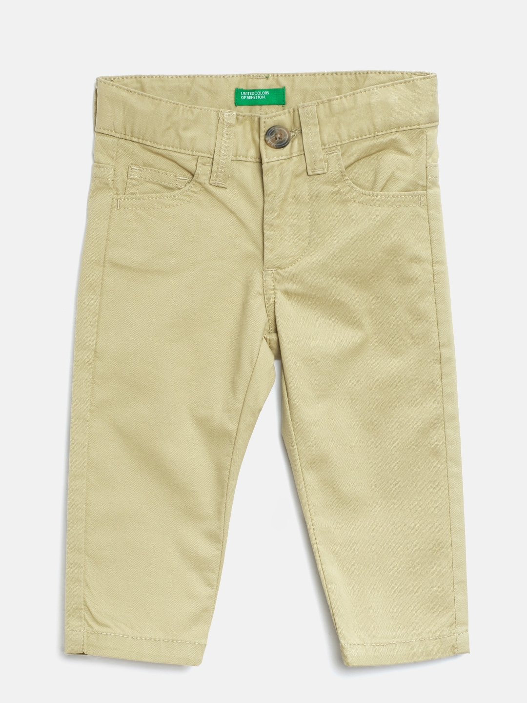 United Colors of Benetton Boys Khaki Regular Fit Solid Trousers