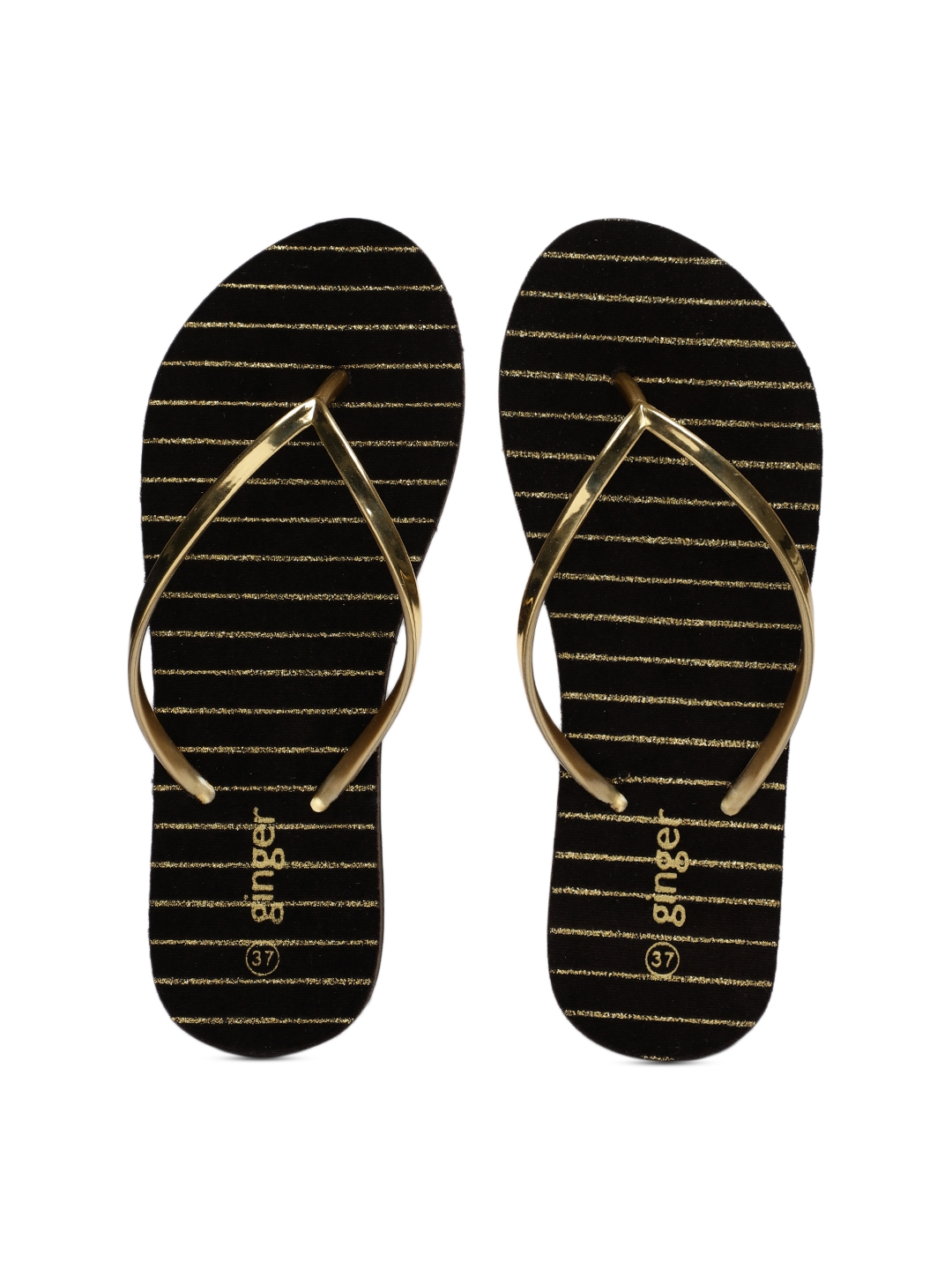 345fad7355de Buy Ginger By Lifestyle Women Gold Toned Solid Thong Flip Flops ...