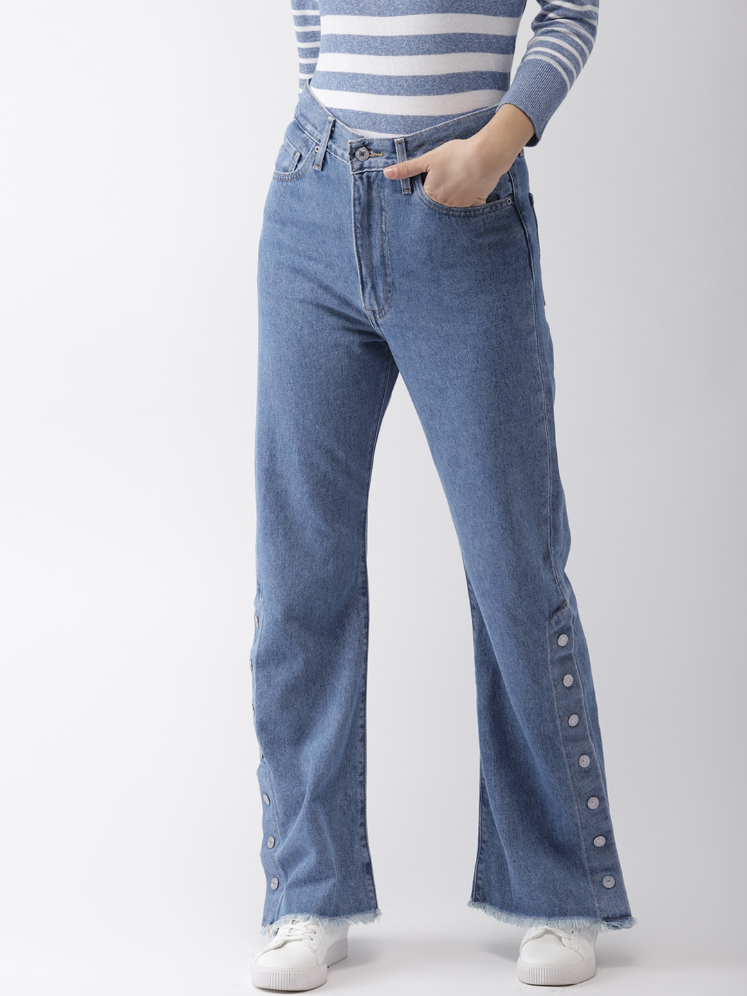 b20037f6a1201 Buy Levis Women Blue Ribcage Split Flare Bootcut High Rise Clean ...