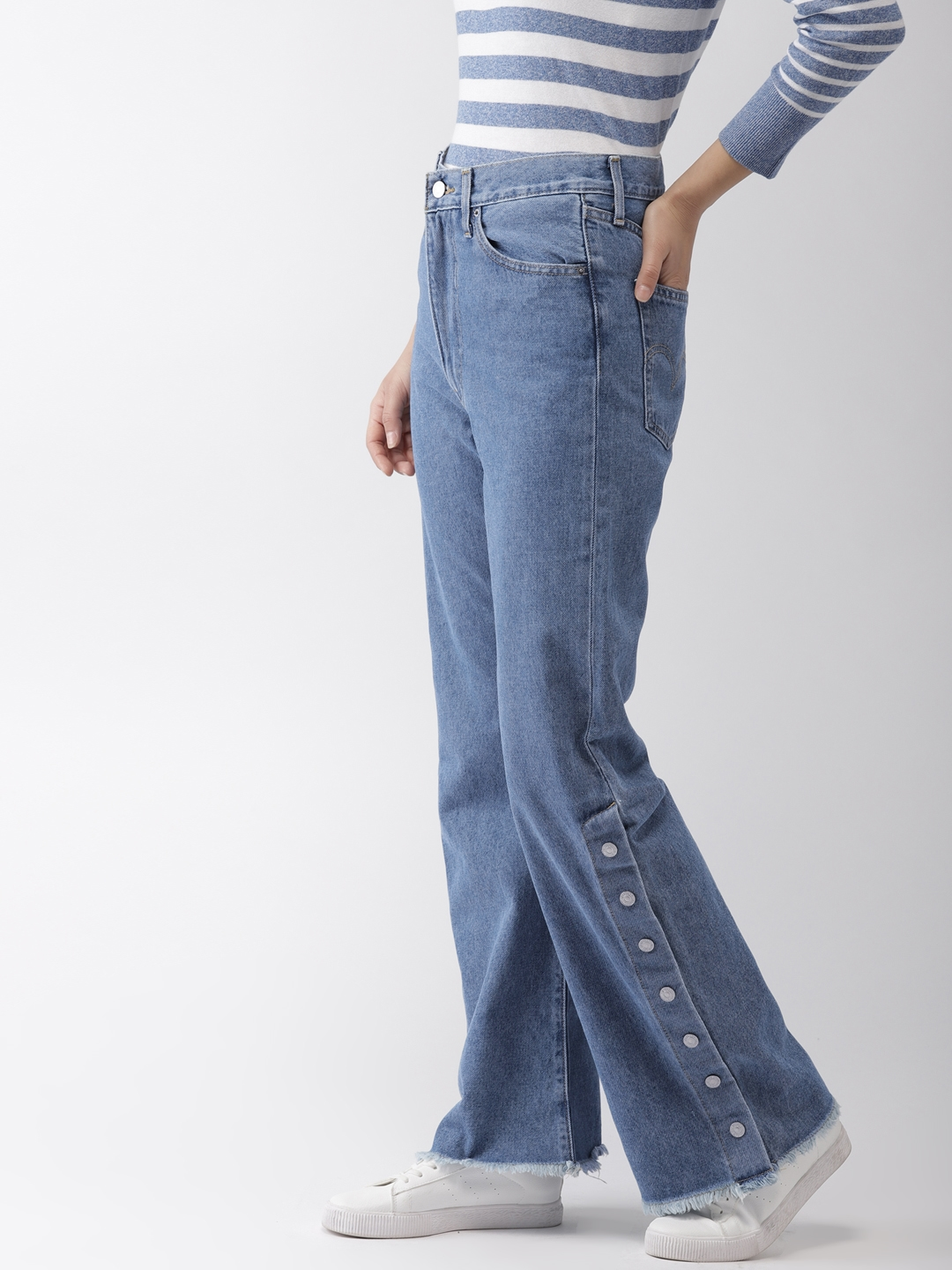 b2b75fc42075c Levis Women Blue Ribcage Split Flare Bootcut High-Rise Clean Look Jeans