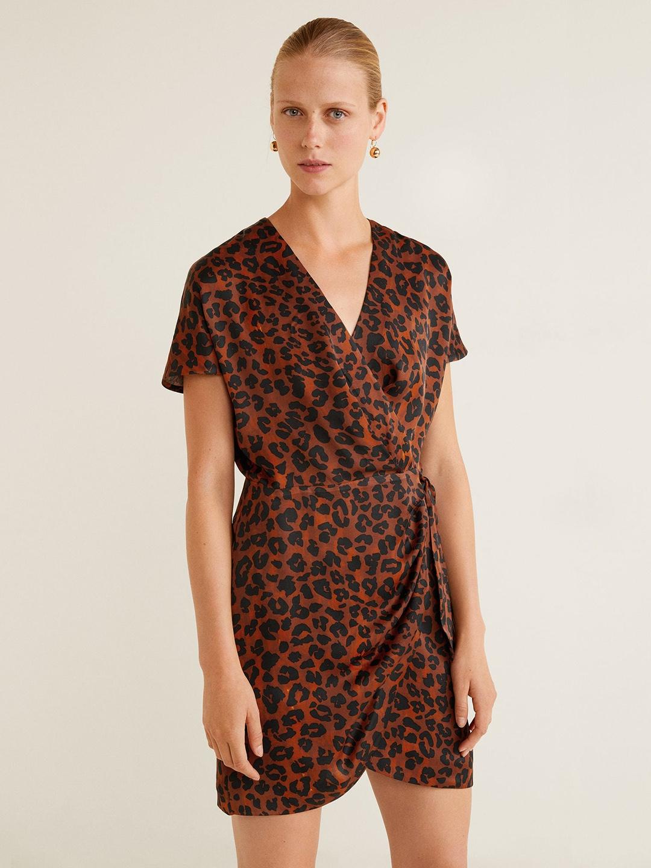 c72db19e1d0 Buy MANGO Women Brown & Black Animal Print Wrap Dress - Dresses for ...