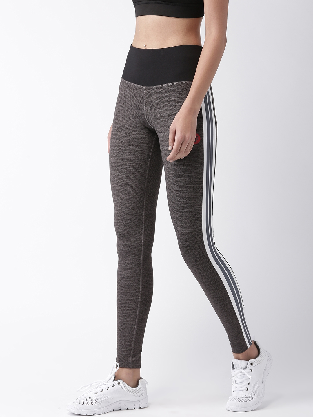 557afe45b Buy 2GO Women Charcoal Grey Solid Running Tights - Tights for Women ...