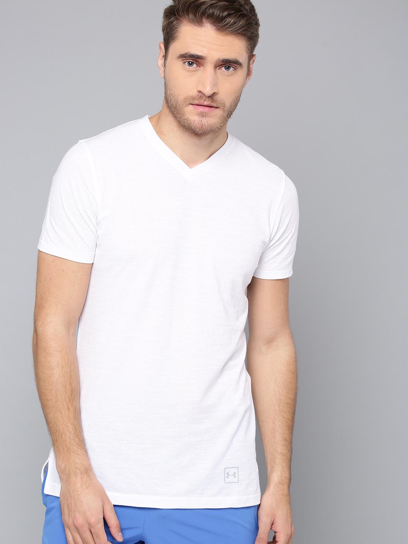 4dc32ea7 Under Armour Men White Solid Sportstyle Core V-Neck T-shirt