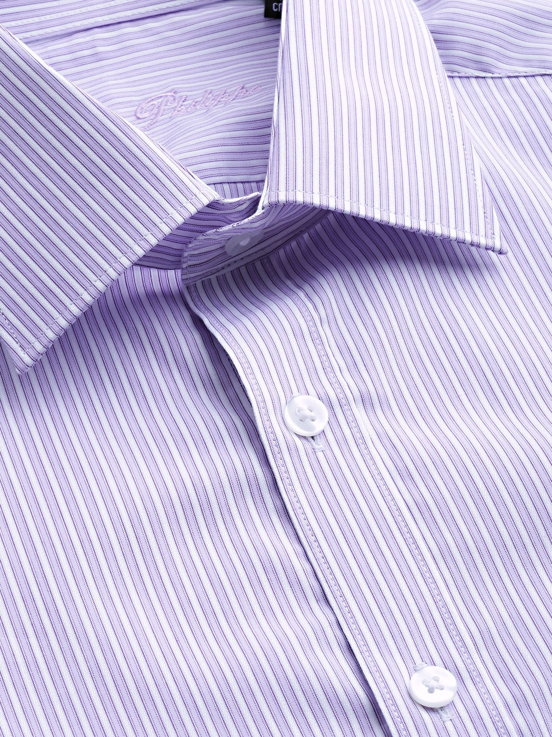 Buy Louis Philippe Men Purple & White Slim Fit Striped