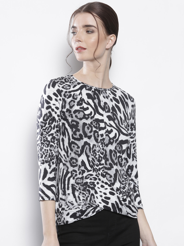 a8b7aef22f23 Buy DOROTHY PERKINS Women White & Black Animal Print Top - Tops for ...