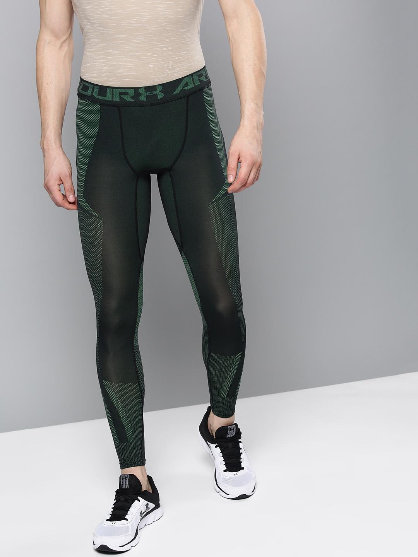 bff06603c743a Buy UNDER ARMOUR Men Green & Black Threadborne Seamless Tights ...