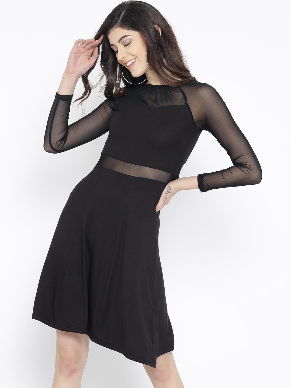 18e8bddf52c Buy StalkBuyLove Women Black Solid Semi Sheer Fit   Flare Dress ...