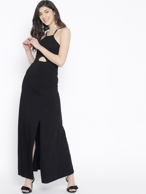 8193694b23c Buy StalkBuyLove Women Black Solid Maxi Dress - Dresses for Women ...
