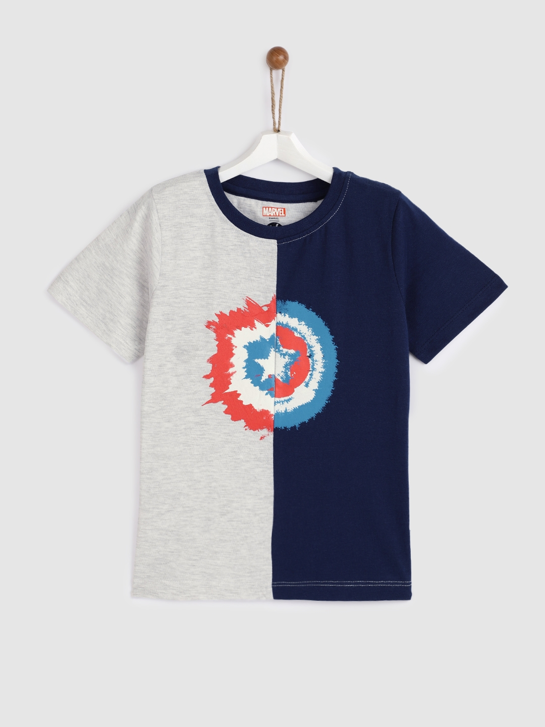 43a13cd9c Buy YK Marvel Boys Grey & Navy Blue Printed Round Neck T Shirt ...