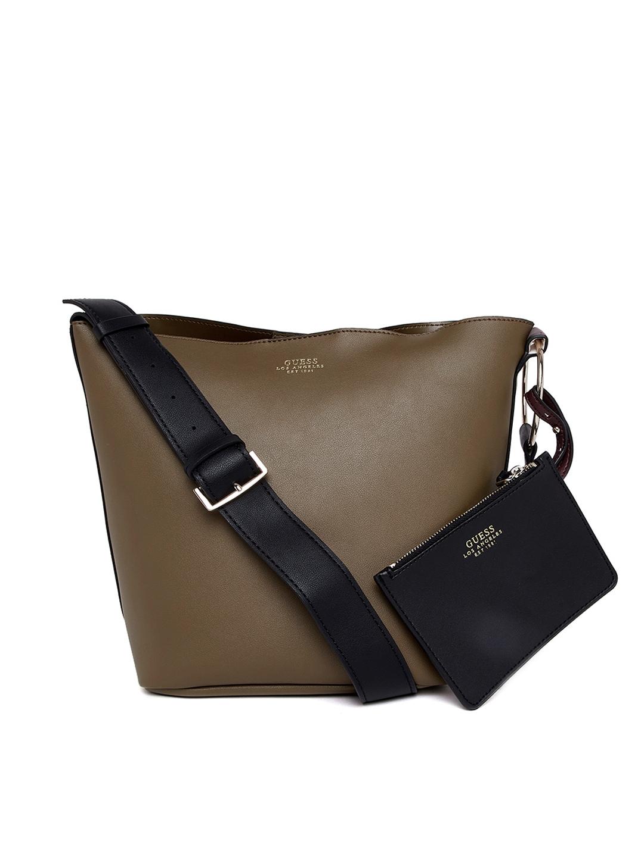 3a5034182 Buy GUESS Olive Green Solid Shoulder Bag - Handbags for Women ...