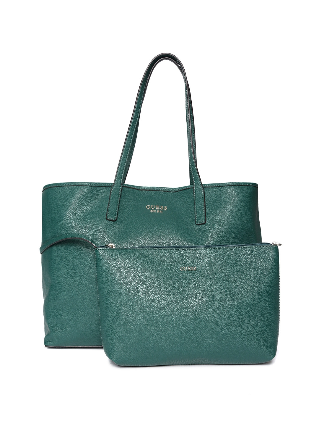 8e40fab74827 Buy GUESS Green Solid Shoulder Bag With Pouch - Handbags for Women ...