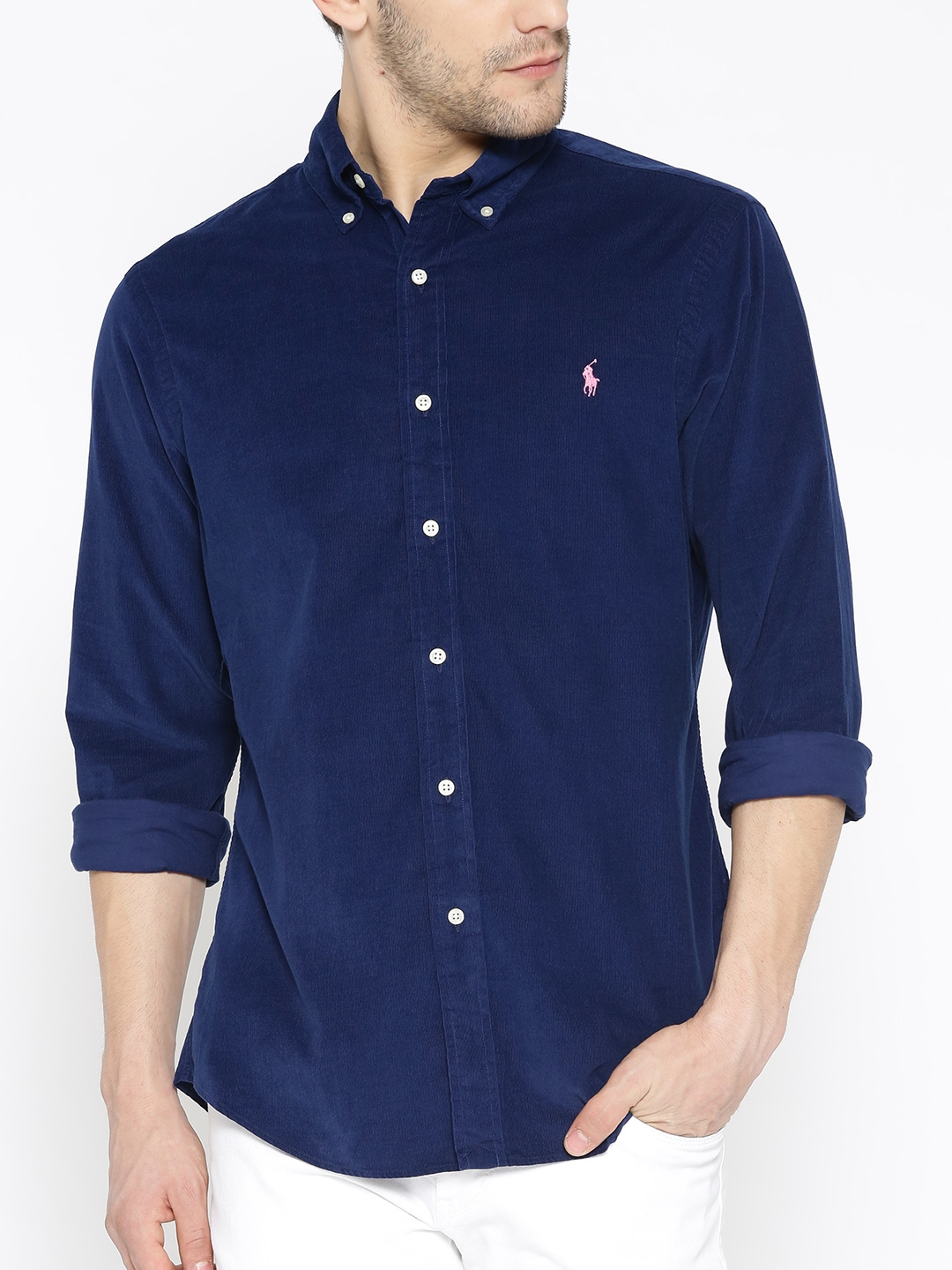 125c1f29a64a Buy Polo Ralph Lauren Navy Blue Corduroy Slim Fit Solid Casual Shirt ...