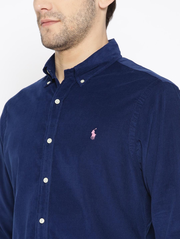 0aaad6cfea9 Buy Polo Ralph Lauren Navy Blue Corduroy Slim Fit Solid Casual Shirt ...