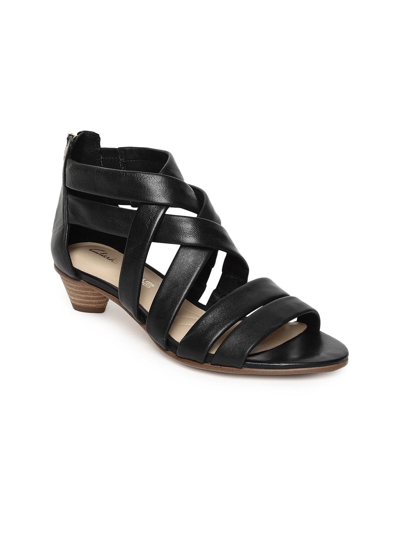 b168217ef Buy Clarks Women Black Leather Sandals - Heels for Women 8384443 ...