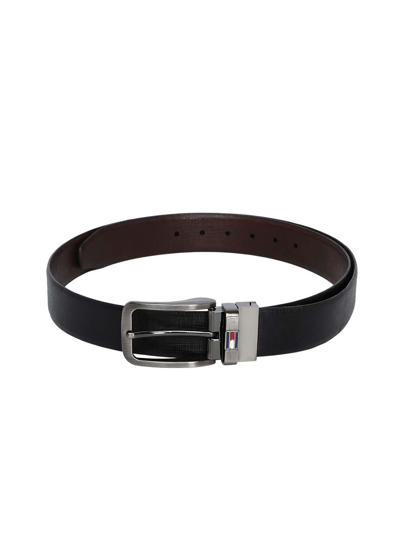 9206535fc Buy Tommy Hilfiger Men Black Textured Leather Belt - Belts for Men ...