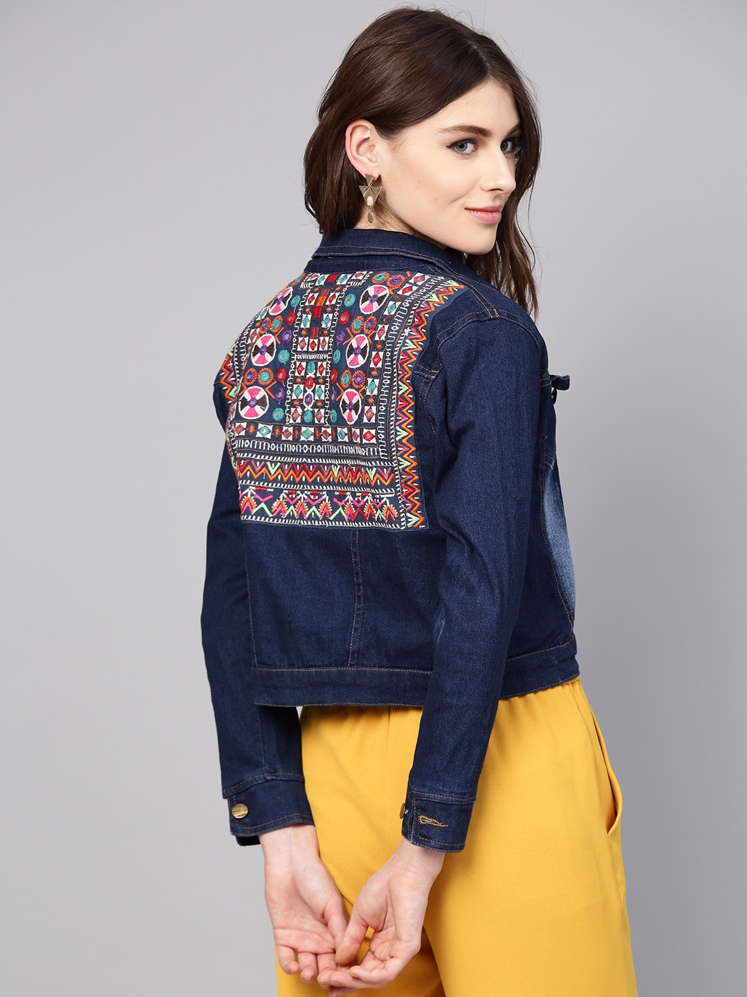 Buy Bhama Couture Women Navy Blue Washed Denim Jacket - Jackets for Women  8394647   Myntra