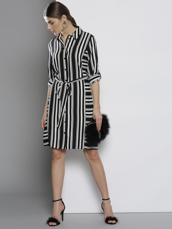 de937ff2f8e2 Buy DOROTHY PERKINS Women Black   White Striped Shirt Dress ...