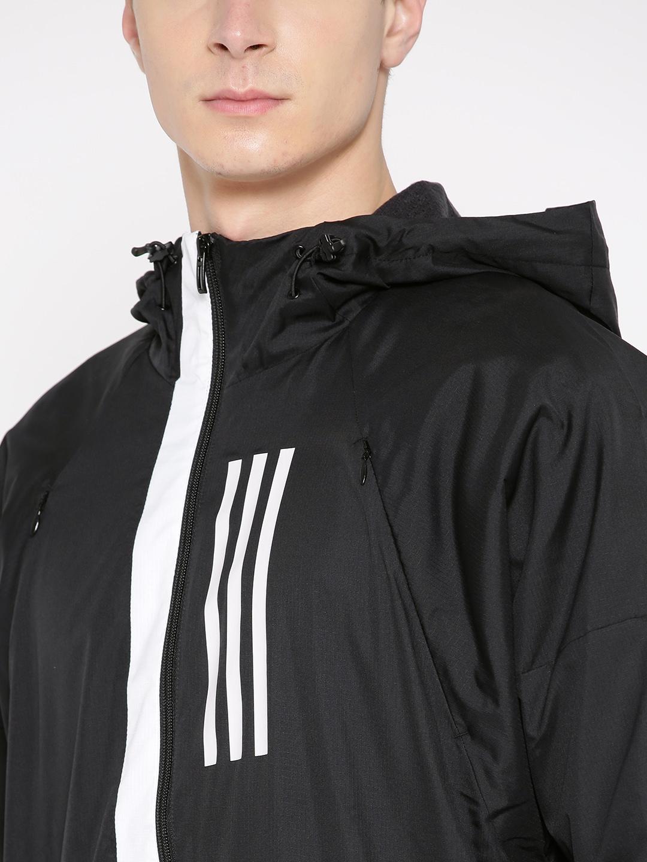 54dc1a4b7a Buy ADIDAS Men Black Solid WND Fleece Lined Sporty Jacket - Jackets ...