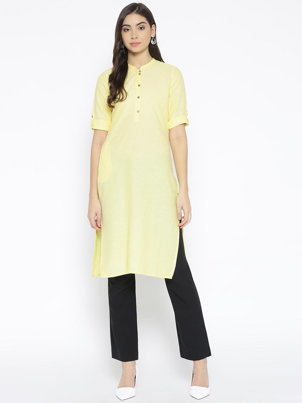 AURELIA Women Yellow Solid Straight Kurta