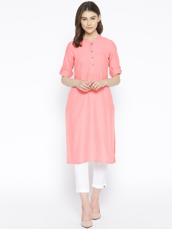 AURELIA Women Pink Solid Straight Kurta