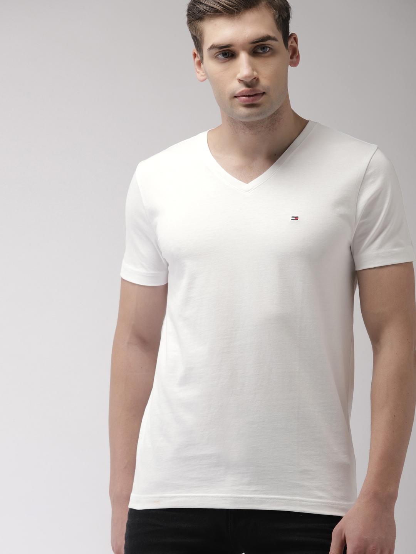 2ccb9558d Buy Tommy Hilfiger Men White Solid V Neck T Shirt - Tshirts for Men ...