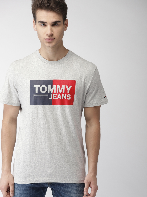 37c42408 Buy Tommy Hilfiger Men Grey Melange Printed Round Neck T Shirt ...