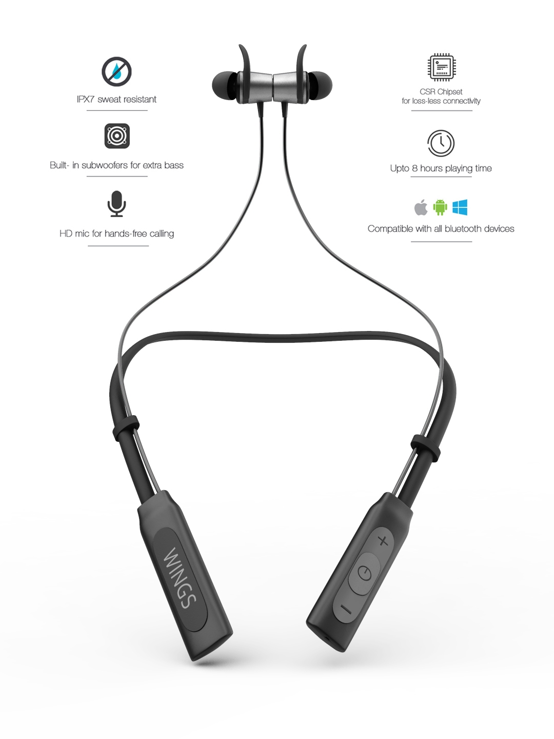 ee0e48aad88 Buy WINGS Black Arc Neckband Bluetooth Wireless Earphones ...