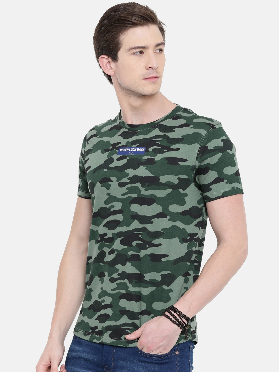 9bb5ecba3189 Buy Wrangler Men Olive Green Camouflage Printed T Shirt - Tshirts ...