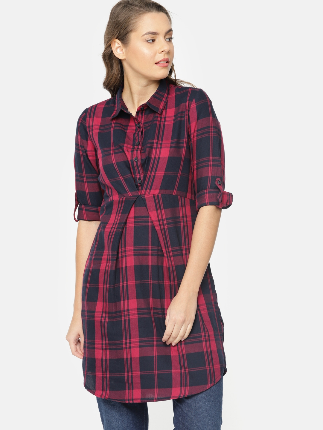 bf101c5be62 Buy Fame Forever By Lifestyle Red & Navy Blue Checked Tunic - Tunics ...