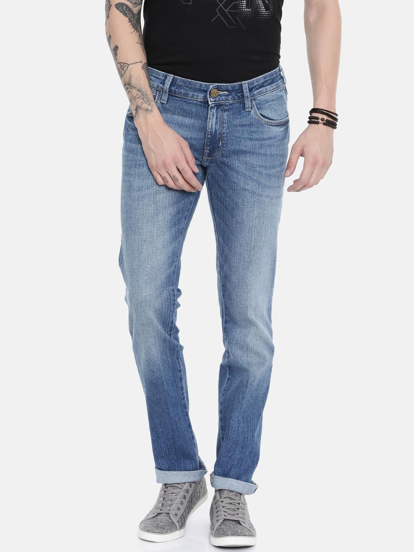 3d26712f Wrangler Men Blue Skanders Slim Fit Low-Rise Clean Look Stretchable Jeans