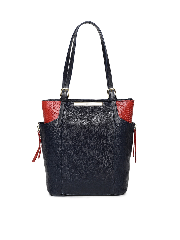 Hidesign Blue & Red Colourblocked Gemini 02 Leather Textured Shoulder Bag